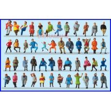 14418 PREISER - Confezione personaggi seduti 48 pezzi - figurini H0