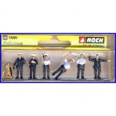 15091 NOCH - 6 Vigili urbani con cane - figurini H0
