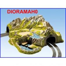05200 NOCH - Tunnel con diorama -70X73 cm - curva R 1 e 2 doppia linea